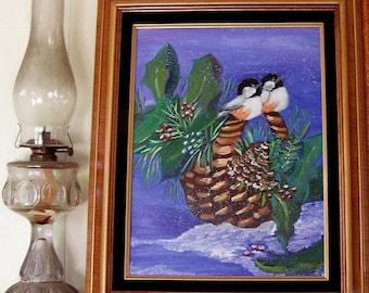 Christmas Chickadees Oil Painting
