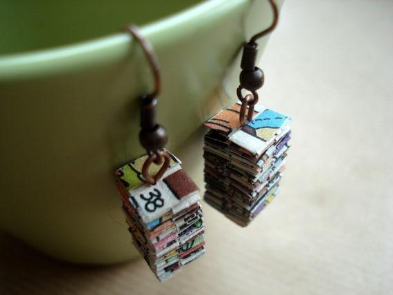 Folded paper comic strip earrings