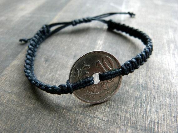 91 year old belgium coin macrame bracelet