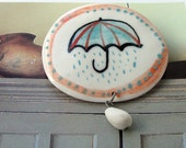 Rainy day porcelain brooch