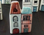Two houses porcelain brooch