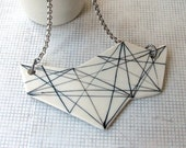 Porcelain geometry triangles necklace