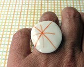 Orange star porcelain ring
