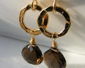 Gemstone Earrings Smoky Quartz on Gold Hammered Hoops 14k Gold Fill Women's Holiday Fashion, Mocha