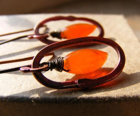 Pumpkin Orange Carnelian Gemstone Rosy Copper Hoop Earrings Organic Rustic Womens Fashion, Firestarter