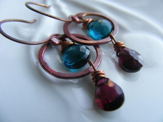 Teal Blue Quartz Garnet January Birthstone Rosy Copper Gemstone Hoop Earrings Rustic Womens Fall Autumn Fashion