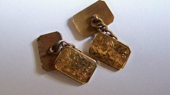 Vintage Cufflinks  1950s Double Faced Lozenge Shape Gold Tone Metal Engraved Floral Design