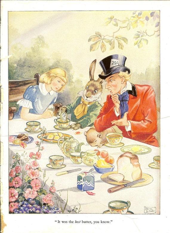 Four Vintage 1940s Original Alice In Wonderland Colour Prints