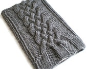 Rainy Gray Kindle and Nook Cozy Celtic Cable Knit Case Holder Sleeve Handmade Charcoal Grey Slate Fog Kindle Fire, Keyboard eBook Reader