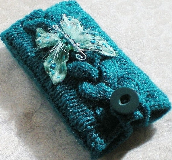 Teal Braided Cable Knit Phone Case iPhone, iPod Touch/Smartphone Cozy Hand Knit Handmade Blue Aqua Turquoise Butterfly