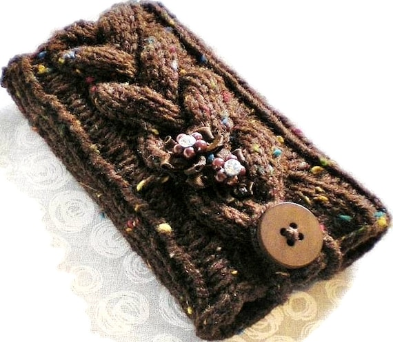 Gingerbread Tweed Braided Cable Knit iPhone Droid iPod Touch Android Smartphone Cozy, Case Holder Button Sleeve Brown Chocolate Coffee Bark