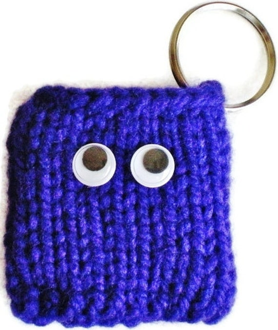 Twilight Purple Monster Hand Knit iPod Nano New 6th Generation Cozy, Holder Sleeve Case Pocket Eyes Dark Violet Keychain Cute