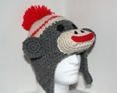 Adult size sock monkey hat - unique handmade character hat made to look like a sock monkey in heather gray - currently made to order