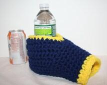 Drink Mitt  6 pack -  navy blue and yellow - The beer mitten handmade drink mitt.