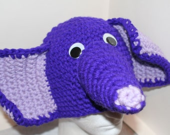 Adult size handmade purple elephant hat. A  fun and very cute winter hat