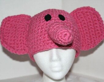 Handmade character hat made to look like a pink elephant - inspired by Elly on Pocoyo