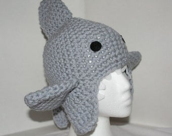 Child size shark hat  - fun and unique handmade hat with ear flaps - currently made to order