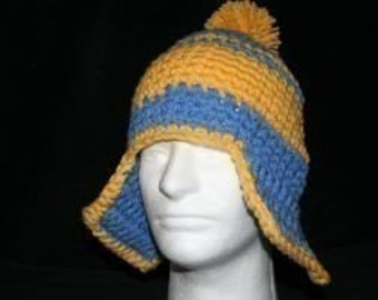 XL Handmade winter hat periwinkle blue and yellow with ear flaps and a yellow pom pom