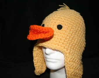 Adult winter hat Baby chick crocheted character winter hat with ear flaps