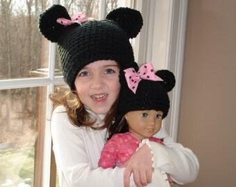 Just like me hat set  for your child and her American girl doll - 2 handmade black hats with mouse ears and bow