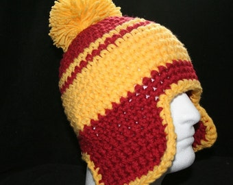 XL Handmade winter hat ranch red and yellow with ear flaps and a yellow pom pom
