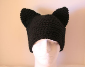 custom handmade pussy cat hat with cat ears - currently made to order