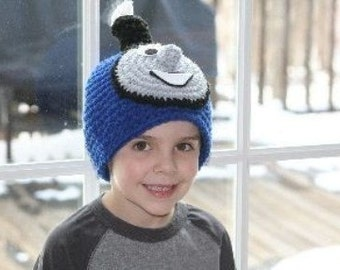 Handmade character hat made to look like a blue train - unique and fun