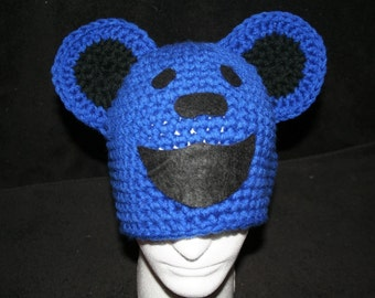 winter hat inspired by the Grateful Dead dancing bears  - royal blue - currently made to order