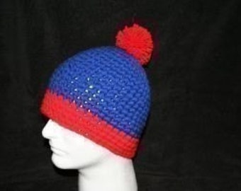 Handmade winter hat royal blue and red looks like the hat Stan Marsh wears on South park