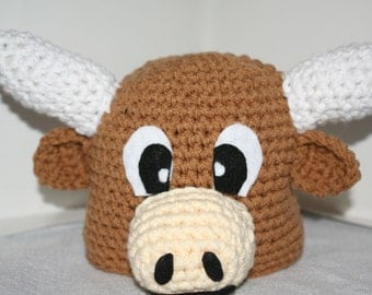 Longhorn steer hat for baby - very cute and unique handmade animal hat  - Currently made to order