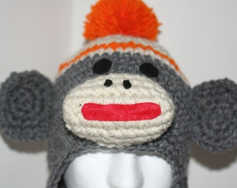 Adult size Orange sock monkey hat - unique handmade character hat made to look like a sock monkey in heather gray