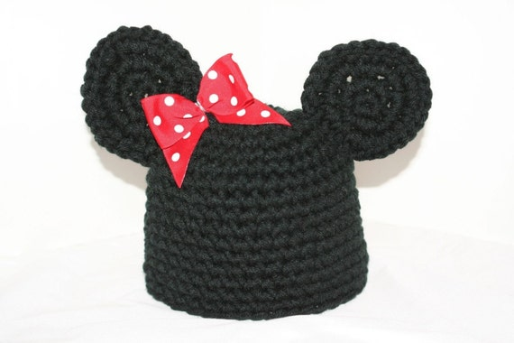 New handmade black winter hat  for baby with mouse ears and bow inspired by Minnie