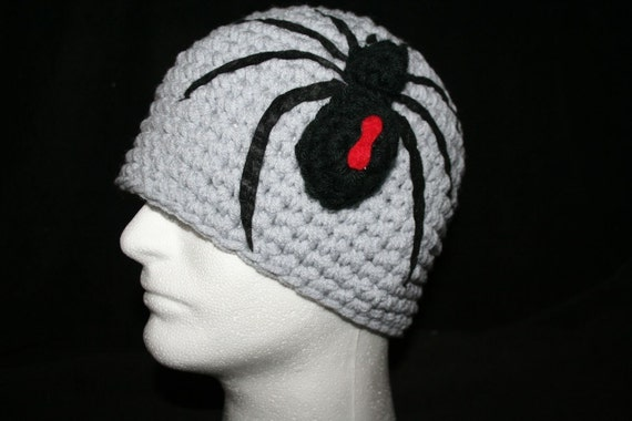 Child Size Custom winter hat with a large 3D spider  Made to order  YOU pick the color
