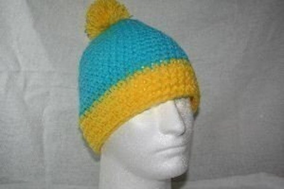 Fun winter hat inspired by the hat Cartman wears on South park  teal / canary yellow