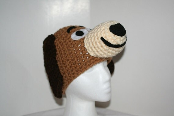 Child size unique winter hat made to look like a brown dog - cute hat for all ages