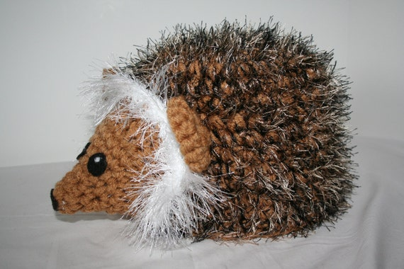 Fuzzy hedgehog  hat - handmade crocheted winter hat.  Very warm and unique.