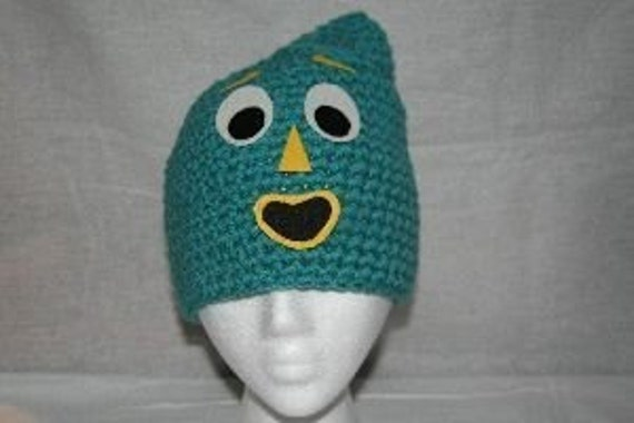 Fun winter crochet character hat inspired by Gumby.