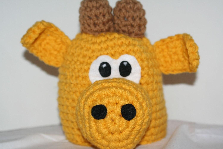 Crochet Giraffe Hat Pattern For Dogs : Child size giraffe hat handmade crocheted animal hat