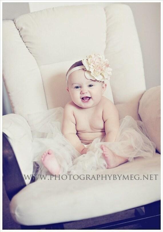 NEW 3 piece set - Ivory Cream Off White Peony flower on Ivory Skinny Headband AND Ivory TUTU combo  Newborn Baby Infant Newborn Toddler Girls