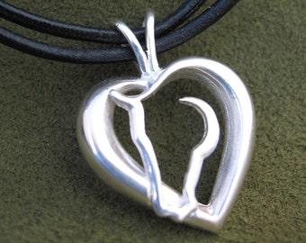 Silver Hearts ' N Horses Pendant