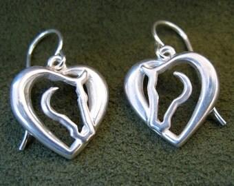 Sterling Silver Hearts 'N Horses Dangle Earring