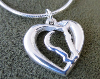 Small Sterling Silver Hearts 'N Horses Pendant