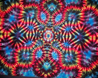 "Customized Tapestry, ""Black Magic"", 100% Rayon (5'6""W x 3'8""H) Original Tie-Dye"