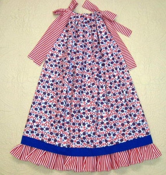 Girls Size Fits 5 to 6 Red White Blue Flower Boutique Pillowcase Dress