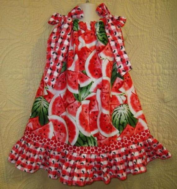 Boutique Pillowcase Girls Size Fits 3T to 4T Watermelon Picnic Dress