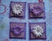 4 Purple Prima Flower Square Scallop Tags