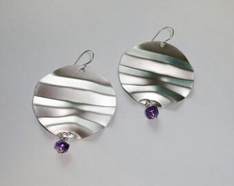 Crumpled Metal Amethyst Earrings