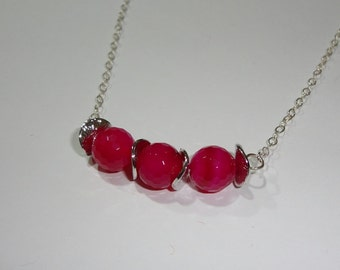 Faceted Pink Agate Necklace