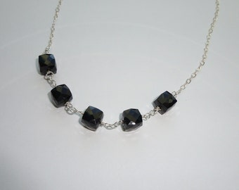 Onyx Cube Chain Necklace