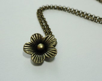 Simple Brass Flower Necklace